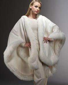 Nadire Atas on Vintage Fur Fashion Sofia Cashmere Fox Fur-Trimmed Cashmere U-Cape, White Fur Fashion, Winter Fashion, Style Fashion, Cashmere Cape, Fur Cape, Sixties Fashion, Fur Stole, Fox Fur Coat, Vintage Fur