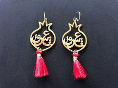 pomogranate Eshgh (Love) earrings with red tassel-ALANGOO Cute Jewelry, Jewlery, Jewelry Bracelets, Vintage Jewelry, Women Jewelry, Yalda Night, Arabic Jewelry, Laser Cut Box, Moroccan Jewelry