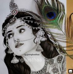 Girl Drawing Sketches, Dark Art Drawings, Art Drawings Sketches Simple, Realistic Drawings, Anchor Drawings, Radha Krishna Sketch, Krishna Drawing, Krishna Painting
