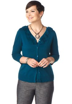 Rosette V-Neck Cardigan | I bought this sweater in this color and really like it.