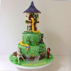 Tangled tower birthday cake