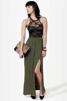 LULU*S  Ramble On Rose Olive Green Lace Maxi DressLove it!  $40