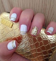 White and Gold nails - Using striping tape and glitter dust & \'Essie - Blanc\'