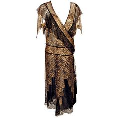 Pre-owned Vintage Black and Gold Lace Evening Gown w/ Gold Buckles, 1920s