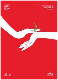 Afiche: 'Las plantas nos hacen felices', campaña por Ogilvy y Mather Neva Yoerk para Colcc-Cola