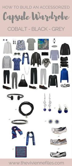 How to Build a Capsule Wardrobe of Accessories in a Cobalt, Black and Grey color palette
