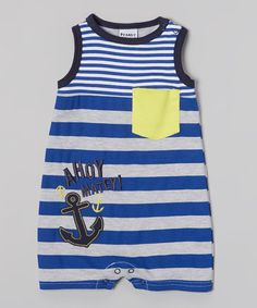Blue Stripe 'Ahoy Matey' Anchor Romper - Infant | Daily deals for moms, babies and kids