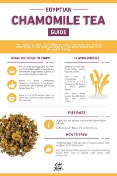 Egyptian Chamomile Tea | Cup & Leaf #chamomiletea #tea #tearecipe #teainfographic #infographic #teaforhealth #healthbenefitsoftea #healthyliving #naturalremedy #naturalhealth
