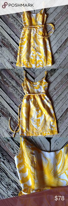 An Original MILLY of New York cotton summer dress Imported Italian fabric, 100% cotton with lining, soft yellow and white floral pattern, textured fabric. Milly  Dresses