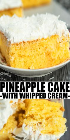 PINEAPPLE CAKE RECIPE- The best old fashioned, Southern quick and easy crushed pineapple cake. Starts off with yellow cake mix box (doctored cake mix recipe), homemade with simple ingredients. From CakeWhiz.com
