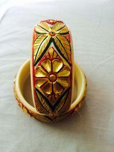 Meenakari work on Carved Resin Bangle Set