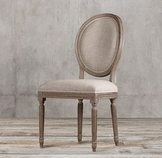 Vintage French Round Fabric Side Chair  Formal Dining Room.  Burnt Oak frame.  Belgian Linen Sand cushions.  1-2 weeks for delivery.
