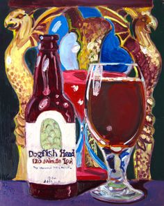 Beer Painting of 120 Minute IPA by Dogfish Head Craft Brewery. Year of Beer Paintings - Day 135.
