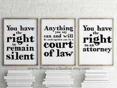 Miranda Warning Print Set - Gift Pack - Lawyer Gifts - Attorney Gifts - Law School Gifts - Law Office Gifts - Wall Art - Digital Download