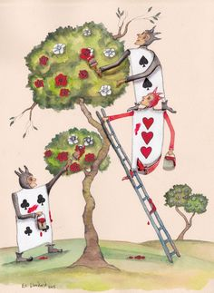 ALICE'S ADVENTURES IN WONDERLAND - 'The Cards Paint the Roses'  by E. C Woodard