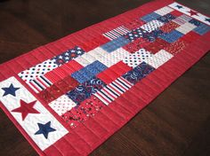 Patriotic Stars and Bars Quilted Table Runner  by SnuggleMeDesigns