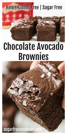 These easy, fudgy Keto avocado brownies are a feast for your taste buds! A deliciously gooey flourless brownie base, topped with a silky chocolate avocado frosting... sugar free dessert heaven. This low carb brownie recipe is only 3.4g net carbs per portion. Note - these brownies DO NOT taste of avocado! The avocado helps create the fudgy texture we all love in brownies whilst keeping the recipe light and seriously nutritious at the same time. #avocadobrownies #ketobrownies #lowcarbbrownie