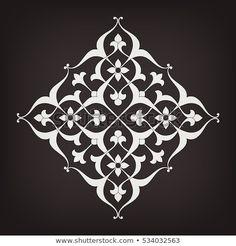 Shutterstock koleksiyonunda bunu ve milyonlarca diğer telifs Stencil Patterns, Stencil Designs, Pattern Art, Islamic Art Pattern, Arabic Pattern, Mandala Painting, Stencil Painting, Motif Vector, Motif Arabesque