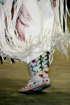 Beautifully lovingly made by hand, these beaded moccasins are the star.