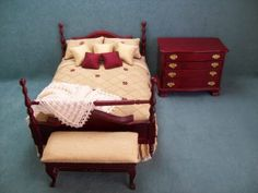 Mahogany Three Piece Bedroom Set with Gold and Wine Bedding. $79.95, via Etsy.
