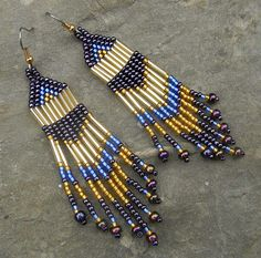 Purple and Gold Native American Style Long Seed by Seed Bead Jewelry, Bead Jewellery, Seed Bead Earrings, Beaded Jewelry, Jewlery, Beaded Earrings Native, Native Beadwork, Fringe Earrings, Native American Earrings
