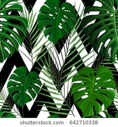 Similar Images, Stock Photos & Vectors of Sseamless pattern with green tropical exotic palm leaves on abstract white black zigzag background. Plant Background, Geometric Background, Textured Background, Iphone Background Wallpaper, Nature Wallpaper, Unicorn Tapestries, Hanging Tapestry, Tapestry Wall, Green Plants