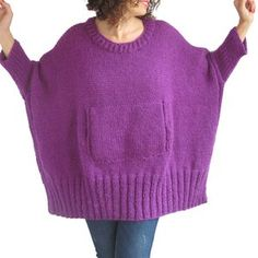4bd8ad4a985a Purple Hand Knitted Sweater with Pocket Plus Size Over Size Tunic - Dress  Sweater by Afra