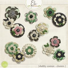 Shabby Couture Flower Clusters     Etc by Danyale  #digitalscrapbooking #digiscrap #memorykeeping #shabby #vintage