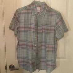 Lived in Plaid button down (pastel green, blue, orange) GAP Tops Button Down Shirts