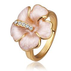 Plated Coral Petal Ring Size, Women's