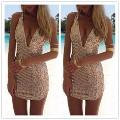 Image of SEXY SEQUINED V-NECK PACKAGE HIP DRESS