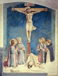 ANGELICO, FRA Vicchio di Mugello, Florencia, 1395 – Roma Crucifixion with Virgin and Saint Cosmas, Saint John The Evangelist and Peter Martyr c. 1437-1446. Fresco. 152 x 112 cm. Museo di San Marco, Florence