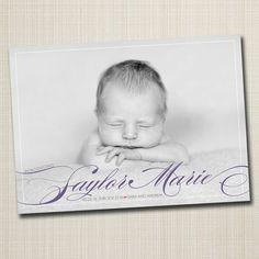photo baby birth announcement boy or girl - swish. via Etsy