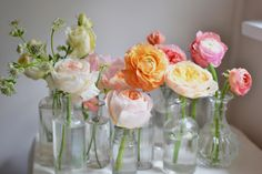 love the pink and peach hues of these flowers (Small Bottle Centerpieces) Bottle Centerpieces, Wedding Centerpieces, Wedding Decorations, Flora Flowers, Bridal Flowers, Bridesmaid Bouquet, Romantic Weddings, Wedding Details, Wedding Ideas