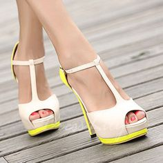 Trendy Color Block and T-Strap Design Sandals For Women