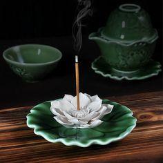 Lotus Incense Holder Aroma Scent Burner Sculpture by kongfuteaware