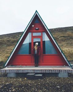 Cute little A-Frame; Incredible Adventure Photography by Frauke Hagen A Frame Cabin, A Frame House, Tiny House Cabin, Cabin Homes, Tiny Houses, Bungalow, Little Cabin, Adventure Photography, Woods Photography