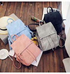 Women Girls Nylon Backpack Shoulder School Book Travel Handbag Rucksack Bags - Ideas of Handbag Backpack Rucksack Bag, Backpack Bags, Travel Backpack, Shoulder Backpack, Leather Shoulder Bag, Shoulder Bags, Teenager Fashion Trends, Faux Leather Backpack, Pu Leather