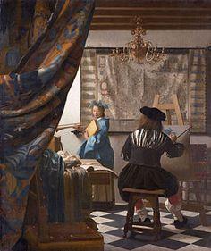 Vermeer van Delft . L'Art de la peinture.L'Atelier ou L'Allégorie de la peinture, est un tableau de Johannes Vermeer peint vers 1666 (entre 1665 et 1670), exposé au Kunsthistorisches Museum de Vienne (huile sur toile, 120 × 100 cm).C'est donc un des plus grands tableaux de l'artiste.