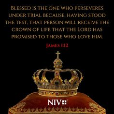 12 Blessed is the one who perseveres under trial because, having stood the test, that person will receive the crown of life that the Lord has promised to those who love him. Scripture Quotes, Bible Scriptures, Inspirational Scriptures, Bible Verse Search, Biblical Verses, Jesus Is Lord, Jesus Christ, James 1, Daughters Of The King