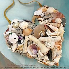 Via Florida Beach Dweller (https://www.pinterest.com/floridabeachdw). Florida Shell Heart! Made with beach collected FL shells and other bits and pieces by artist Amelia Hutcherson. Available at: http://www.staugustineart.net/shell-seaglass-big-heart-by-amelia-hutcherson--can-ship.html