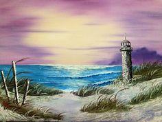 Seascape with Lighthouse Oil on canvas. 18 x 24 inches Seascape with Lighthouse Simple Oil Painting, Autumn Painting, Texture Painting, Bob Ross Paintings, Easy Paintings, Landscape Art, Landscape Paintings, Lighthouse Painting, Seascape Art