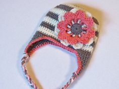 Grey and White Stripe Crochet Baby Hat with Pink Flower 0-3 months