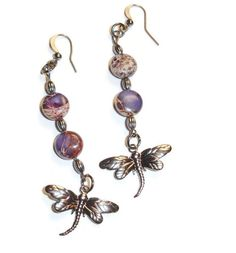 Mosiac Purple Variscite Dragonfly Earrings. Starting at $9 on http://tophatter.com/saturday-night-majick-auction