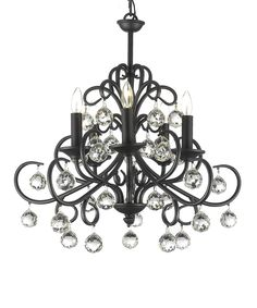 would love something like this in the bathroom over the tub!   Black 22'' Wrought Iron & Crystal Chandelier by Gallery Lighting #zulily