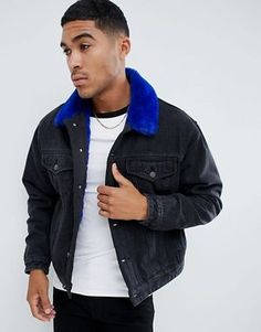 ASOS DESIGN faux fur lined oversized denim jacket in black Oversized Denim  Jacket, Asos Men ba78902f8a51