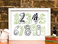 Animal Numbers Nursery Art Print from notonthehighstreet.com