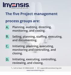 The five Project management process groups are: Looking to build your CAPM knowledge? Please visit www.invensislearning.com for more information on our upcoming CAPM courses in Copenhagen and around the world. Get 10% discount on an upcoming training program within 3 months of attending our course. #CAPMExam #CAPM #CAPMTraining #CAPMQuestion #CAPMCertification #CAPMCopenhagen #CAPMDenmark