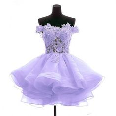 Angela Women's Off the Shoulder Organza Short Prom Homecoming Dresses ($85) ❤ liked on Polyvore featuring dresses, purple cocktail dresses, off shoulder dress, off shoulder cocktail dress, purple homecoming dresses and off the shoulder dress