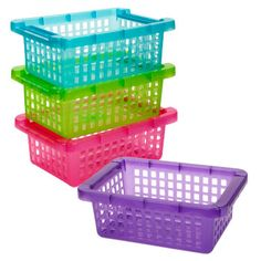 "Colorful 10x6-4/5x3¾"" rectangular plastic baskets are the perfect solution for your storage and organization needs! Each basket is slotted to easily view the contents and has flip-over edg"